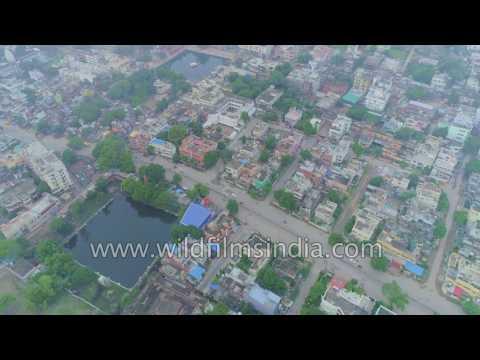 Varanasi city : aerial journey over Ganges river - Hinduism central