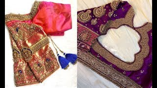 Latest Bead Embroidery Work Blouse Design Party Wear 2019| Blouse Designs For Party Wear Sarees 2019