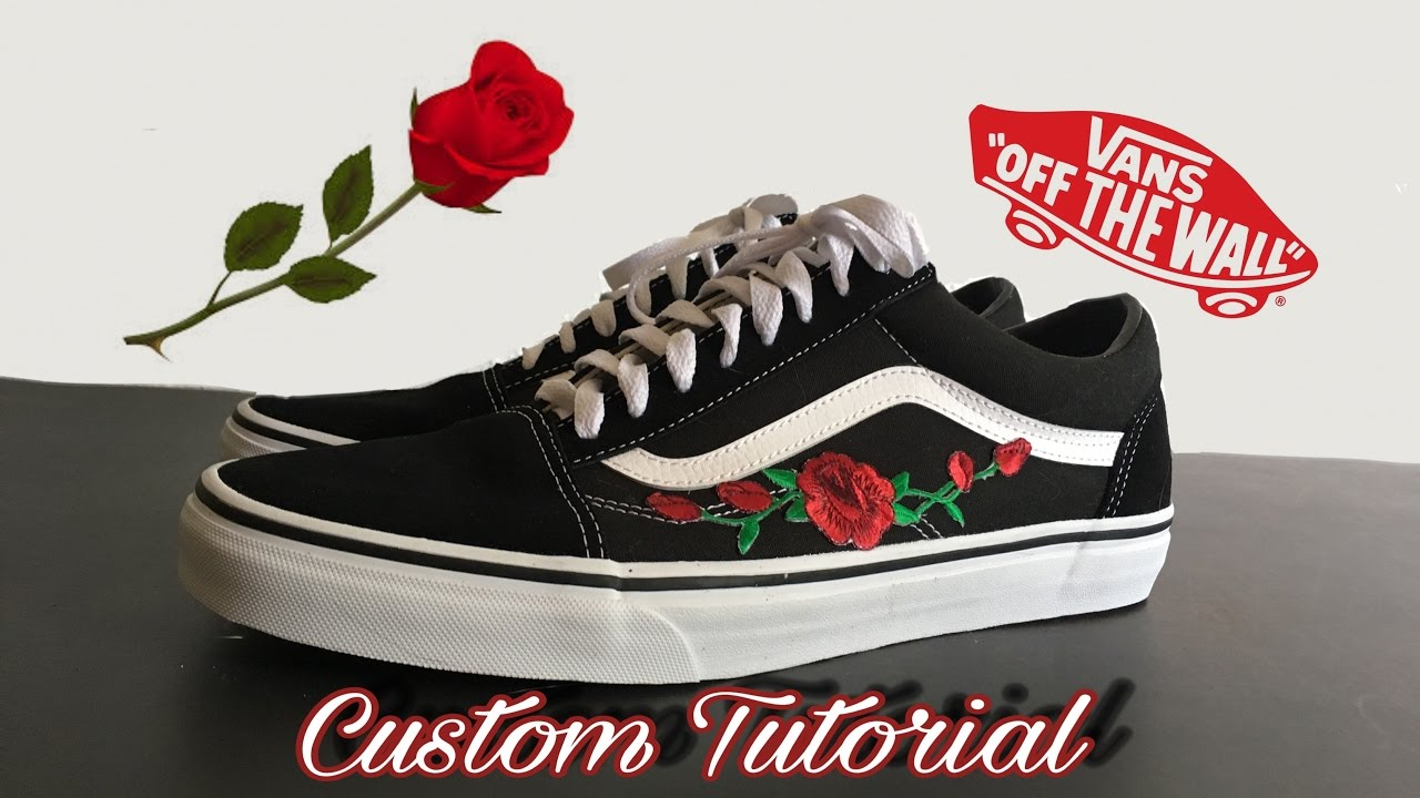 vans old skool rose custom tutorial diy youtube. Black Bedroom Furniture Sets. Home Design Ideas
