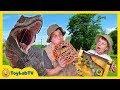 Giant T-Rex Dinosaur Chases Park Ranger with Jurassic World Dinosaurs Toys For Kids