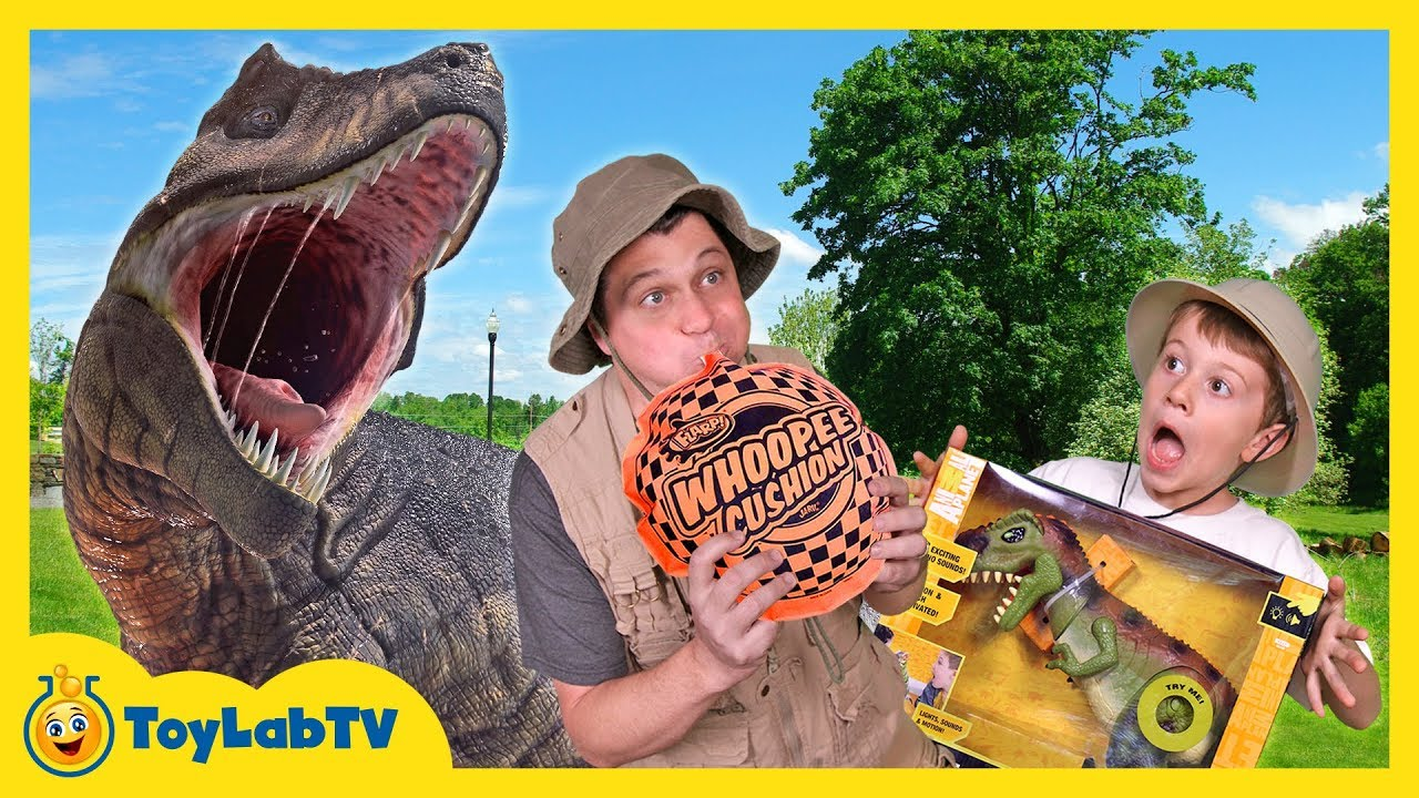 Giant T-Rex Dinosaur Chases Park Ranger with Jurassic World Dinosaurs Toys For Kids