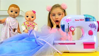 Polina sews beautiful dresses for dolls with sewing machine.