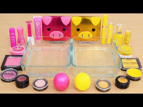 Pretty Pink vs Yellow - Mixing Makeup Eyeshadow Into Slime ASMR