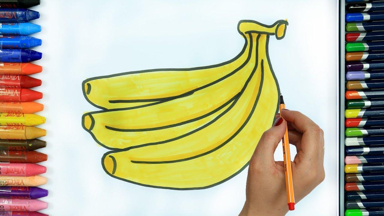 Muz Nasıl çizilir Boya Boya çizelim Boyayalım çocuklar