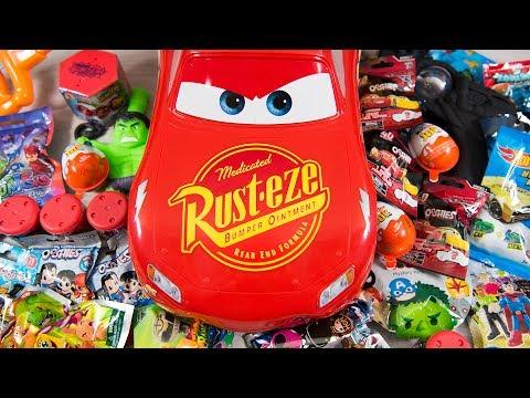 HUGE Lightning McQueen Surprise Eggs Opening Disney Cars 3 Toys for Boys Blind Bags Kinder Playtime