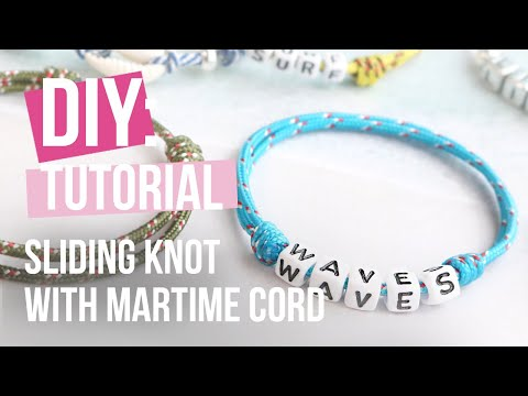 Creating jewellery: Movable 'sliding knot' technique with maritime cord ♡ DIY
