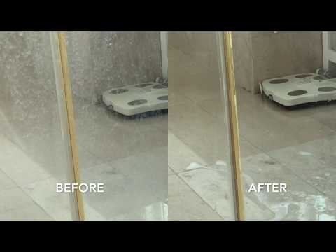 Remove Hard Water Stain From Glass Shower Door in 2.5 minutes. No Manual Scrub