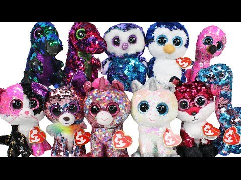 TY Flippables Sequin Beanie Boos Haul Unboxing Toy Review TY Beanie Boo Plush