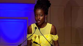 First ever national youth poet laureate of the united states, amanda gorman, performs her original poem, 'in this place: an american lyric', at library o...