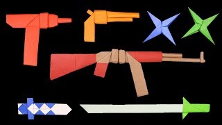 05 Easy Origami Ninja Star/Sword/Knife/Gun - How to make