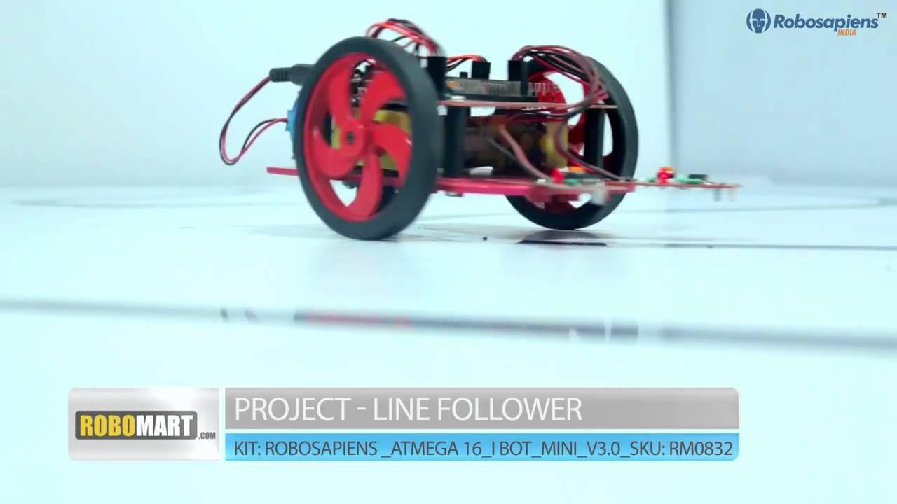 Working Of Line Follower Robot Base On Atmega 16 Ibot Mini V30 Atmega16