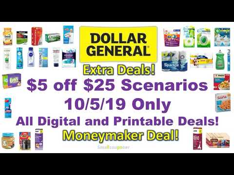 Dollar General $5 Off $25 Scenarios 10/5/19! All NEW Digital And Printable Deals!