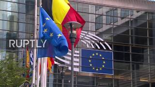 Belgium  UK and EU flags at half mast outside EP after Manchester Arena explosion