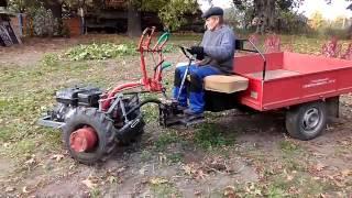 испытание. Руль  и педаль сцепления на прицепе мотоблока .
