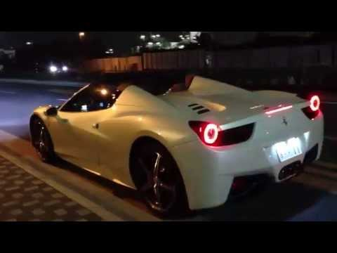 Pearl White Ferrari 458 Spider Brutal Launch Start With