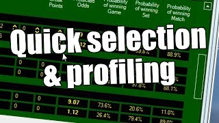 Betfair Tennis trading - Quick selection and profiling of Tennis matches
