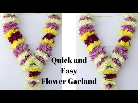 How to make Chrysanthemum Garland? | Easy method to make sevanthi garland | Rainbow Rangoli