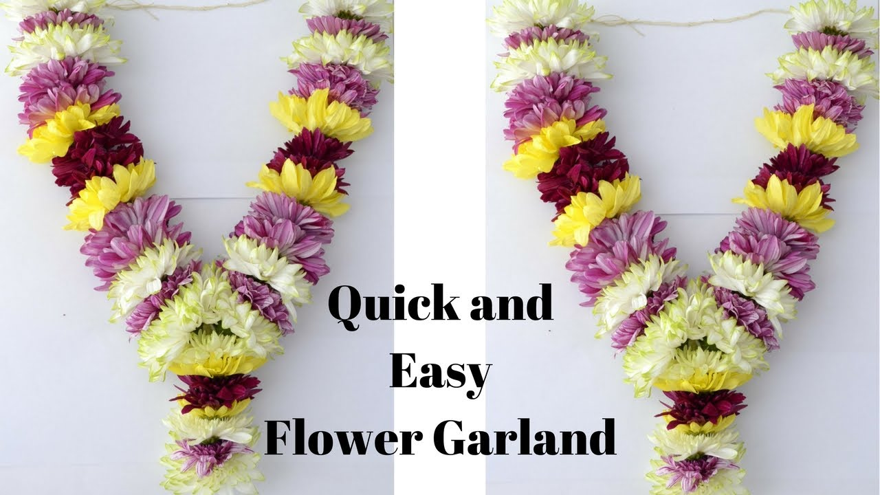 How To Make Chrysanthemum Garland Easy Method Sevanthi Rainbow Rangoli