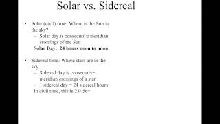 4a - Solar vs. Sidereal Day