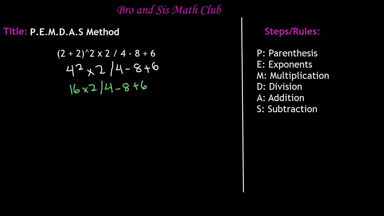6th Grade Math Pemdas Method