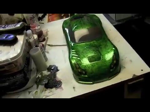 Custom Painted Rc Tvr Body With Black Amp Green Marble