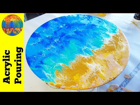 Acrylic Pouring Dip Technique: Beach and Ocean Painting