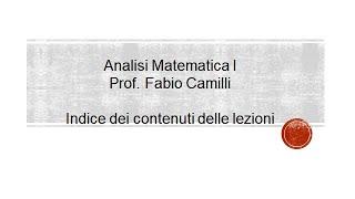 Corso Analisi Matematica 1