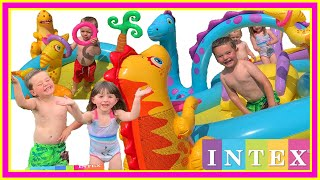 INTEX Dinoland Play Centre - INFLATABLE KIDS POOL WITH WATER SLIDE - Unboxing Fun!