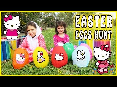 HELLO KITTY SURPRISE EGG HUNT Hello Kitty Easter Eggs Hello Kitty Jumping on the Bed Hello Kitty Toy