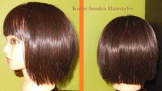Short layered Bob haircut tutorial with bangs | Bob haircut with graduation | Corte de cabelo Bob