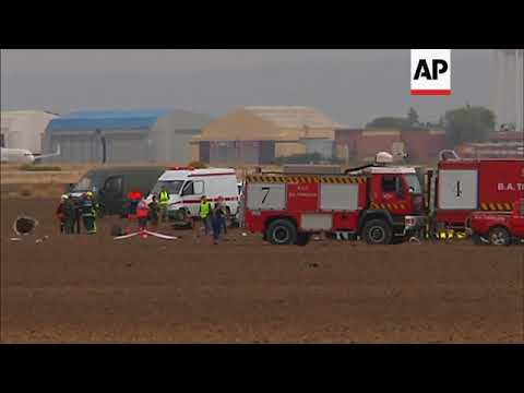 Scene of Spain military jet crash, which killed pilot