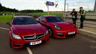mercedes cls amg vs porshe panamera gts fifth gear
