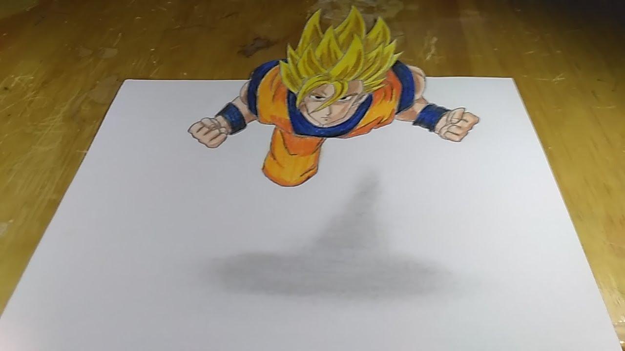 Dragon Ball Super Seiya Menggambar 3d Son Goku Super Seiyan Flying