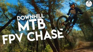 FPV Drone chases downhill MTB riders