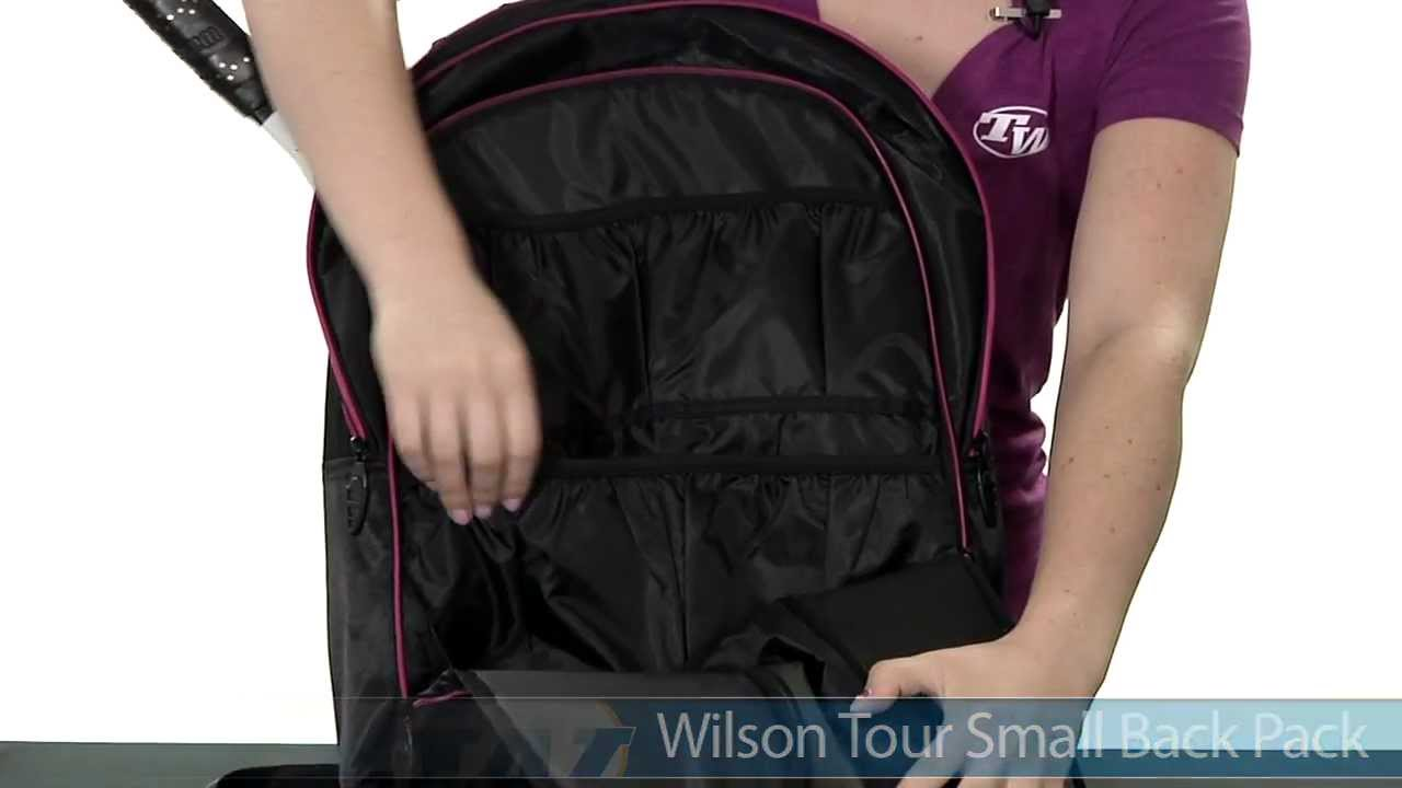 Wilson Tour Black   Gold Small Back Pack - YouTube a9a52fd900ae4
