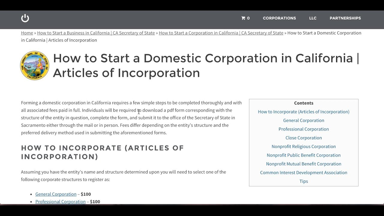 How to Start a Corporation in California | CA Secretary of State ...