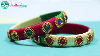 How to Make Silk Thread Bangles (2 Designs) at Home Easily | By CraftingHours