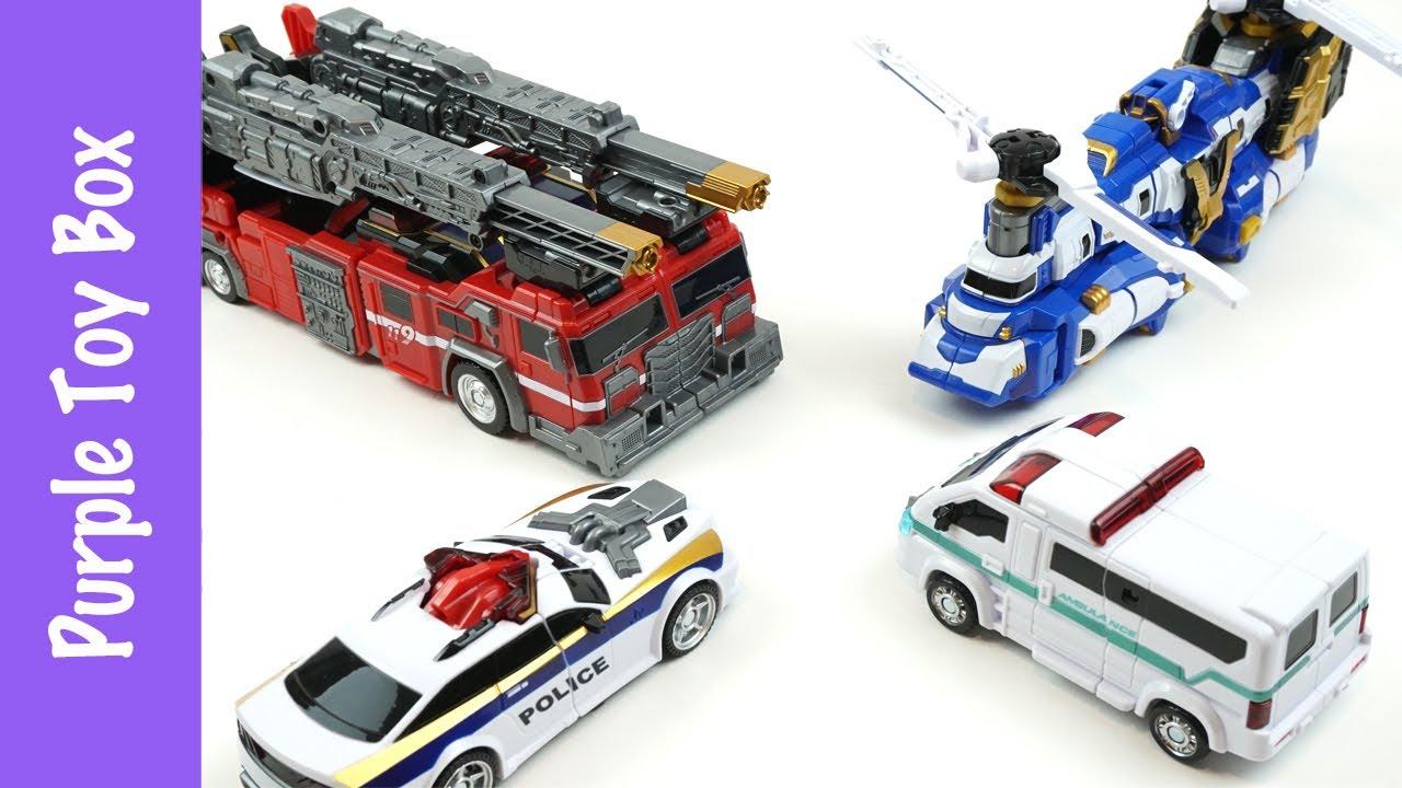 4 Combination Police Car Ambulance Fire Truck Helicopter Transformer Tobot V 또봇V 4단합체 기간트 세이버