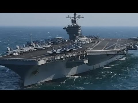 Supercarrier USS ROOSEVELT and Guided-Missile Cruiser USS BUNKER HILL transit Arabian Gulf!
