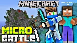 MCPE 1.1 Micro Battles SERVER! Saw HEROBRINE in Micro Battles Minigame Server - (Minecraft PE 1.1)