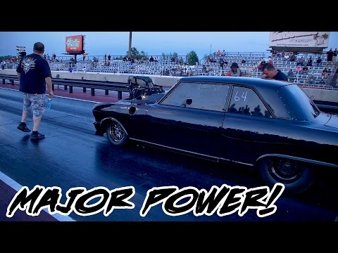 CRAZY HORSEPOWER AND SPEED OUT OF THIS BLOWN CHEVY 2 NOVA AT WOOSTOCK!!!