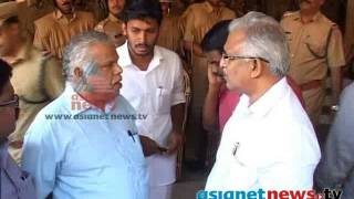MV Jayarajan and P Jayarajan abuse local police officials in Kannur