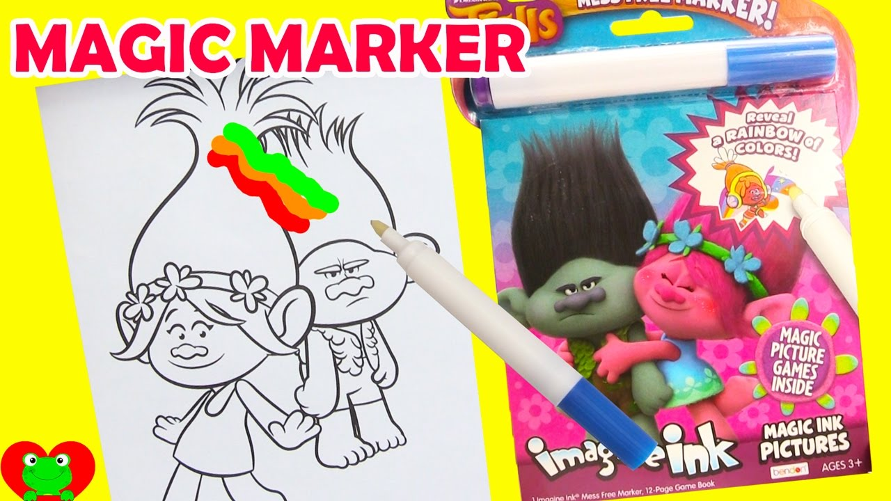 trolls imagine ink coloring magic marker and surprises youtube - Magic Marker Coloring Book