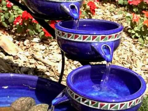 Smart Solar On Demand Blue Mosaic Ceramic Cascade Fountain Product Review Video