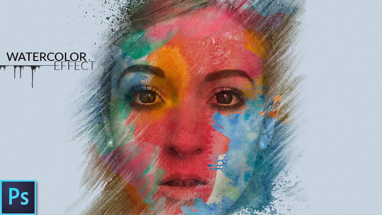 Watercolor portrait effect photoshop tutorial youtube baditri Choice Image