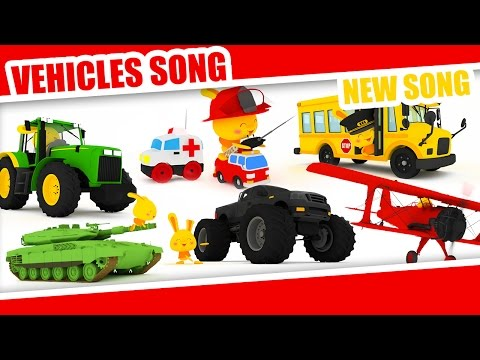 The Vehicles song - Monster trucks, planes, cars, trucks, police, firetruck, helicopter, motorbikes
