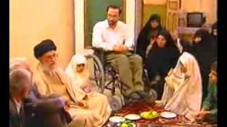 A true father - Sayyed Ali Khamenei visiting the house of a Soldier - Persian