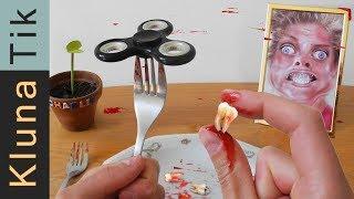 FIDGET SPINNER TRICK GOES WRONG! Kluna Tik Dinner #67 | ASMR eating sounds no talk thumbnail
