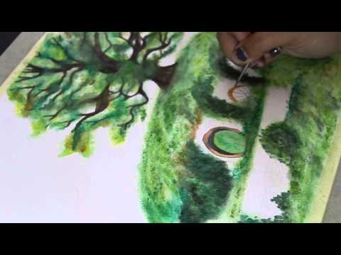 ♡ Paint with me ♡ The Shire – Watercolor speed painting