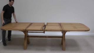 Country Oak 1.8 - 2.3 - 2.8m Double Extending Cross Leg Oval Oak Dining Table